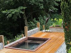 Custom copper spa with two loungers, LED lighting, interior stairway and cool down area