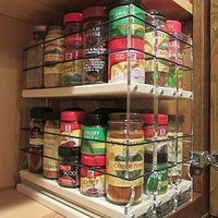 Organize cabinet spices or other small kitchen items in this slim multi-level organizer rack from Vertical Spice. This clear-view rack has 3 slide out drawers. Spice Storage, Spice Organization, Diy Kitchen Storage, Storage Cabinets, Diy Storage, Storage Ideas, Spice Racks, Storage Systems, Storage Solutions