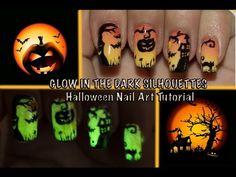 GLOW IN THE DARK Halloween Silhouettes Nail Art tutorial - YouTube