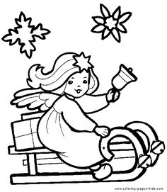Christmas Angel color page, holiday coloring pages, color plate, coloring sheet,printable color picture