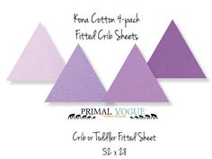 "4 Pack of Kona Fitted Sheet for Infants and Toddlers by Primal Vogue™ - 52"" x 28"" - Purple, Thistle, Pansy, Dahlia, Wisteria - 100% Cotton"