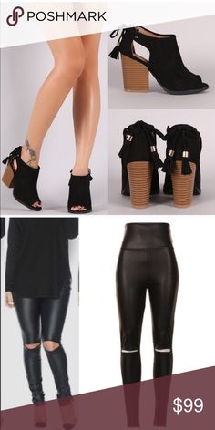 SOLD - BUNDLE for Nadia 1. MILA ROSE open bootie- BLACK size 6  2. MCKINNLEY chic slick leggings - BLACK size L Shoes Ankle Boots & Booties