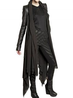Gareth Pugh - Black Leather Sleeves Silk Chiffon Coat