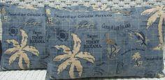 Set of 2 -Tommy Bahama Blue Nautical Tropical Map Print  Indoor / Outdoor  Rectangle / Lumbar Throw Pillows