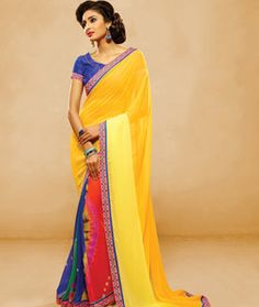 Buy Yellow Silk Georgette Printed Saree With Blouse 70950 with blouse online at lowest price from vast collection of sarees at Indianclothstore.com.