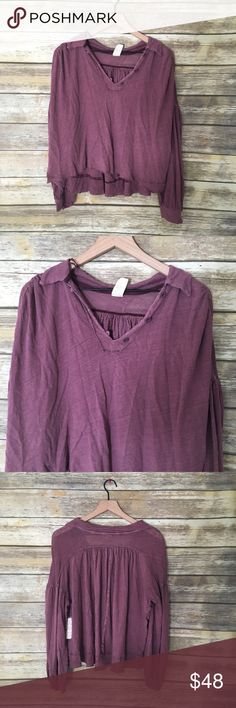 dc844963f87 NWT Free People FP Mulberry Rush Hour Shirt Top New with Tags FP Free  People Rush Hour Shirt Size Medium Color Mulberry   Cropped tee boasts a  comfy linen ...