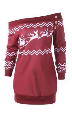 e438481404379 Plus Size Zigzag Deer Skew Neck Christmas Pullover Sweatshirt