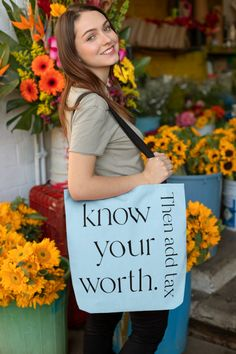 This canvas lined tote bag measures 15 x 15 inches. It has woven handles, has the design printed on both sides of the bag, and holds up to 40 lbs. of contents. Purchase this tote and share the special message with everyone you see.
