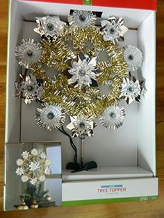 Silver  Gold Tinsel Star lighted tree topper Target 2014  -- You can get additional details at the image link.