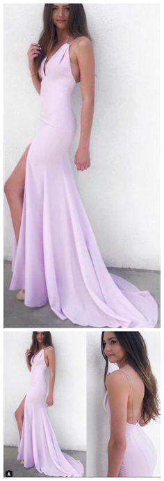 Elegant backless Chiffon Evening Dress Long Sexy Deep V Neck Sleeveless Floor Length Front Slit Prom Dresses Party Gowns 50062 #RosyProm #promdress #promgown #longpromdress #simplepromgown #charmingpartydress #eleganteveningdress #backlesspromdress #slitpromgown