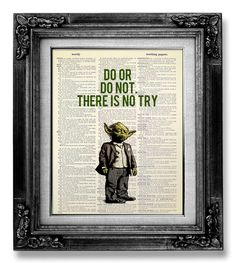 College Graduation Gift Man Him, Home OFFICE Decor, College DORM Decor Dorm Room Decor, Motivational Wall Decor, Star Wars Yoda QUOTE Poster by GoGoBookart on Etsy (null)