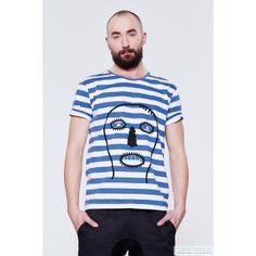 BLUE EYE POP - koszulka t-shirt męski w paski