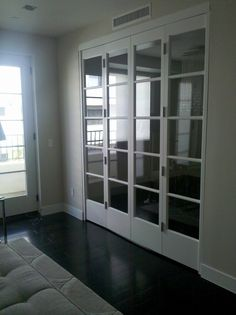 Wood Interior Bifold Doors, but with frosted class Contemporary Entry Doors, Glass French Doors, Interior Barn Doors, Prehung Interior French Doors, Home, French Doors Interior, House, Exterior Doors, Doors Interior