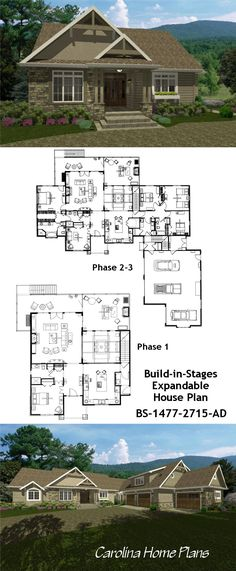 """""""LAND POOR"""" THE STORY BEHIND THE EXPANDABLE CRAFTSMAN HOUSE PLAN We originally designed this expandable craftsman style home for a couple who spent most of their home building budget on a gorgeous piece of land for their dream home. Not willing to give up the great location in order to move to a larger house later on, they opted to build a flexible, expandable home. This expandable, build-in-stages method of affordable homeownership is an ideal solution for many young would-be homeowners."""