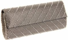 Whiting & Davis  Crystal Chevron Flap Clutch,Pewter,One Size Whiting & Davis. $228.00