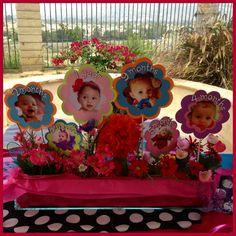 Baby's first year flower pot centerpiece created for Alice in Wonderland (1derland 1st Birthday). By Distinctive Party Designs.