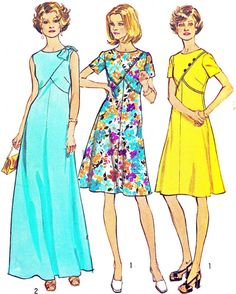 1970s Dress Pattern Simplicity 6395 Mod Day or Evening A Line Maxi or Midi Dress Fit and Flare Womens Vintage Sewing Pattern Bust 39
