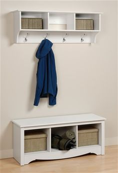 Mudroom - this coat rack/shelf combo could work well in the laundry on the wall shared with the kitchen??