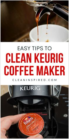 Know the proper way for how to clean a Keurig coffee maker. These tips will make the regular cleaning of your beloved coffee machine easier and let you enjoy a fresh cup of coffee for a long time. #cleaning #home #hacks #DIY. Kitchen Cleaning, Cleaning Hacks, Coffee Machine, Coffee Maker, Sparkling Clean, K Cups, Pantry Organization, Kitchen Cupboards, Hacks Diy