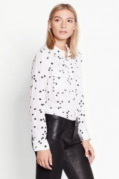 c4d2083c6b725f 78.00 | $248 Silk Slim Signature Star Print Equipment Shirt White Color XS/S