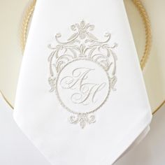 Sterling Silver Monogram is perfect for the Bride and Grooms monograms on wedding napkins.