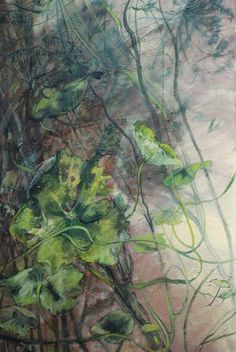 Shades of green Art Et Nature, Poster Mural, Arte Floral, Abstract Flowers, French Artists, Botanical Art, Painting Inspiration, Art Images, Painting & Drawing
