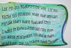 """""""Worn"""" song lyrics art journal page."""