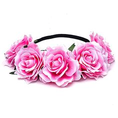 Scala Bride Bohemian Flower Headband Festival Wedding Floral Garland Summer Hair Band Scrunchy Headband Pink *** Visit the image link more details. Note:It is affiliate link to Amazon. #iphoneonly