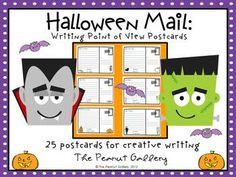 """Halloween Mail (Writing Point of View Postcards)- 25 postcards for incorporating point of view into creative writing... My students think this activity is """"spooktacular!"""" I also add additional requirements such as spelling or vocabulary words, figurative language, comma rules, etc. The possibilities are endless! $4.25"""