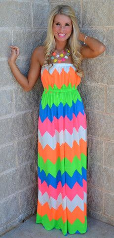 FOLLOW MY BEAT NEON CHEVRON MAXI $32.99