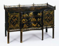LavishShoestring.com |  Dressing table        Place of origin:        London, England (made)      Date:        ca. 1754 (made)      Artist/Maker:        Linnell, John, born 1729 - died 1796 (designer)      Linnell, William, born 1698 - died 1763 (maker)      Materials and Techniques:        Pine and mahogany, with japanned decoration (painted with layers of pigmented varnish); handles of gilt bronze