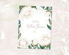 The Floral set of White King Protea includes high quality hand painted flowers, leaves and frame. Perfect graphic for wedding/bridal invitations, greeting cards, photos, posters, quotes and more.  -----------------------------------------------------------------  INSTANT DOWNLOAD Once