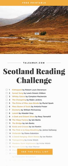 Scotland Reading Challenge, Books Set In Scotland - For more books visit www.taleway.com to find books set around the world. reading challenge, scottish books, book challenge, books you must read, books from around the world, world books, books and travel, travel reading list, reading list, books around the world, books to read, scotland books, scotland books novels, scotland travel