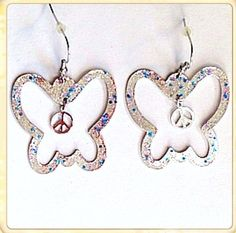 Hand Painted Butterfly Peace Sign Silver Earrings with Colorful Glitter - Gift Statement Bling Hippy Boho Nature Eco Jewelry on Etsy, $8.00