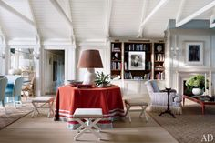 C. Wonder Founder J. Christopher Burch's Spirited Hamptons Beach House ~ Painted in Benjamin Moore colors, the living area features photographs by Len Prince (on the bookcase) and John Stewart (over the mantel), a Roy Hamilton Studios table lamp, and custom-made stools upholstered in a Clarence House horsehair.