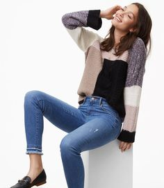 87b4c75093d4a Loft Modern Double Frayed Skinny Jeans in Staple Mid Indigo Wash Found on  my new favorite app Dote Shopping