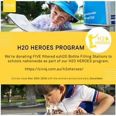 We will be donating Five filtered drinking water fountains for schools nationwide as part of our Heroes program. Drinking Fountain, Drinking Water, Secondary School, Primary School, Email Subject Lines, Filling Station, Water Quality, Kids Health, Physical Activities