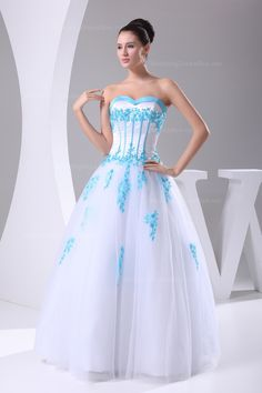 Colored sweetheart full A-line floor-length tulle wedding dress. (I'd do red instead of baby blue) Fall Wedding Dresses, Colored Wedding Dresses, Tulle Wedding, Cheap Wedding Dress, Wedding Dress Styles, Bridesmaid Dresses, Wedding Gowns, Wedding Events, Weddings