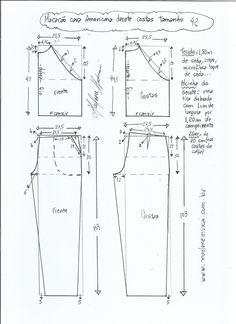Esquema de modelagem de macacão com cava americana tamanho 42.