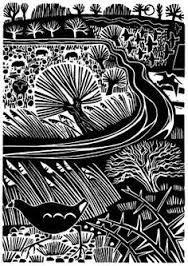 Image result for linocuts landscapes mono colour