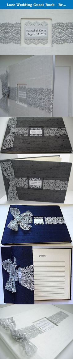 "Lace Wedding Guest Book - Bridal Lace GuestBook - White and Silver French Lace Guestbook - Personalized. The case bound guestbook is covered in 100% dupioni silk fabric with a 1-1/4"" detailed silver french metallic lace ribbon laid horizontally along the middle of the book, finished with a bow. A color coordinated decorative label tag, with the name of the bride and groom's name and date of event is placed within a 1/8"" setback in the center of the book (The photos displayed of the..."