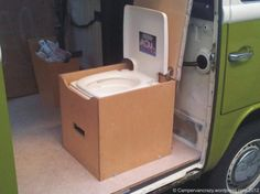 Porta Potti in toilet box (great site by the way)!