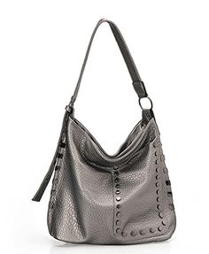 b5160d9f50 Hoxis Stylish Rivet Studded Faux Leather Hobo Shoulder Handbag Womens  Everyday Purse Silver -- You