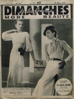 Sunday Women No. 59 -1937 - Dormoy - Paquin / Antic french fashion mag