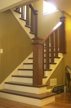 Stairs to Dormer Room love the craftsman feel