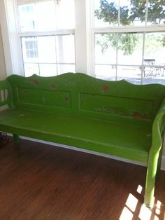 Love my antique green bench. Flea Market find. $200. SCORE