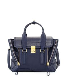 """3.1 Phillip Lim crinkled calfskin satchel with raised paneling. Golden hardware and tonal topstitching. Folded top handles; 3 1/4"""" drop. Removable crossbody strap clips in back, 21 1/2"""" adjustable dro"""