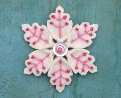 Pink and White Snowflake Winter Brooch Recycled by WanderingLydia