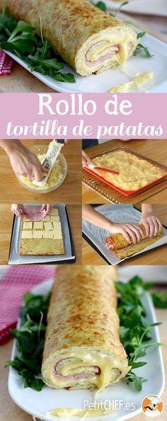 Rollo de tortilladepatatas relleno de jamon y queso