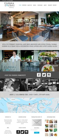 Website design for Thomas Corner Restaurant in Noosa QLD, Australia. Websites for Hospitality, Tourism, Food & Wine designed & built by SocialTap.com.au